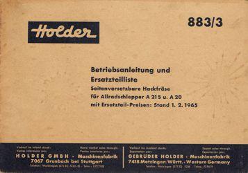Holder A20 A21S Hackfräse 883/3 Betriebsanleitung Ersatzteilliste