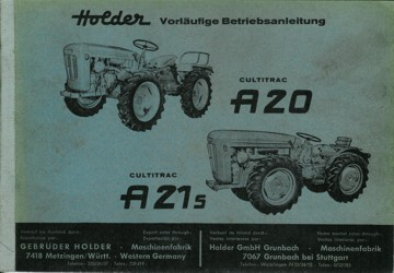 Holder A20 A21S Betriebsanleitung