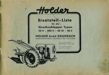 Holder EDII, BEDII, ED10, EBII Ersatzteilliste
