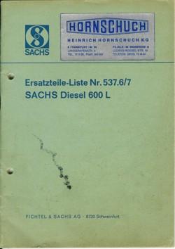 Sachs Diesel 600 Ersatzteilliste