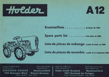 Holder A12 Ersatzteilliste
