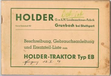 Holder EB Beschreibung, Gebrauchsanleitung und Ersatzteilliste