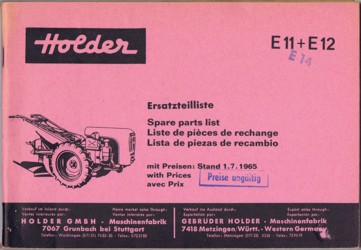 Holder E11 E12 E14 Ersatzteilliste