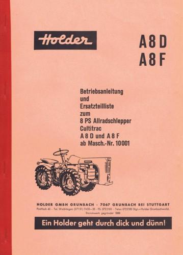 Holder A8 Betriebsanleitung und Ersatzteilliste