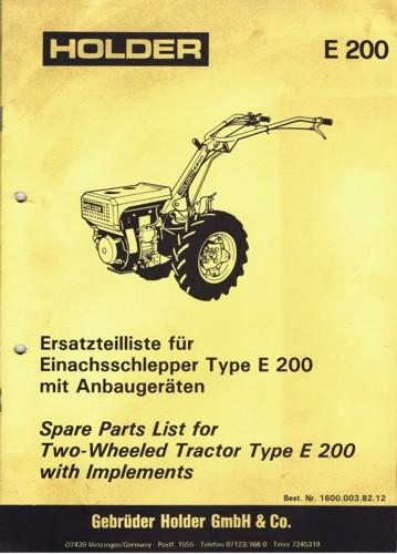 Holder E200 Ersatzteilliste