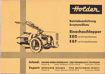 Holder E8 Betriebsanleitung  Ersatzteilliste