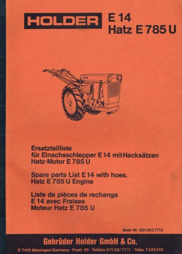 Holder E14 Ersatzteilliste Hatz E 785 U