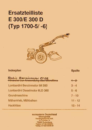 Holder E300 Ersatzteilliste