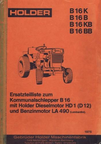 Holder B16 Ersatzteilliste