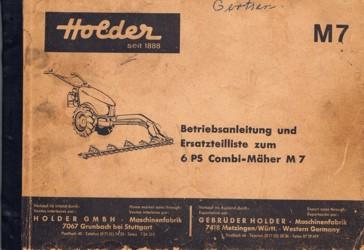 Holder M7 Combimäher 6 PS Betriebsanleitung und Ersatzteilliste zum Sichelrasenmäher