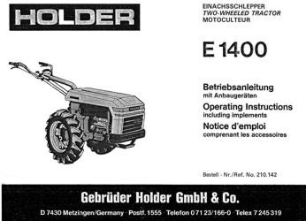 Holder E1400 Betriebsanleitung
