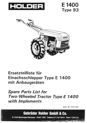 Holder E1400 Ersatzteilliste