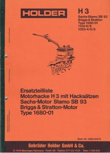 Holder H3 Ersatzteilliste