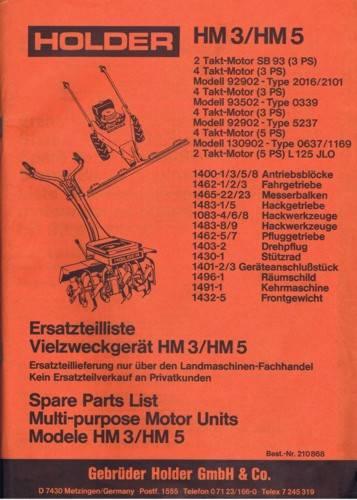Holder HM3 HM5 Ersatzteilliste