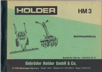 Holder HM3 Betriebsanleitung