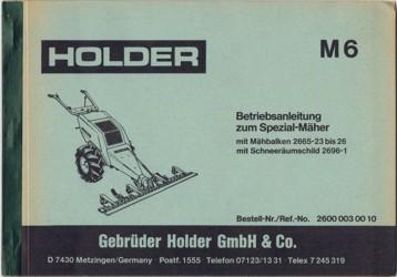 Holder M6 Betriebsanleitung